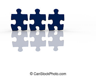 Puzzle people - Three jigsaw pieces on white - 3d render