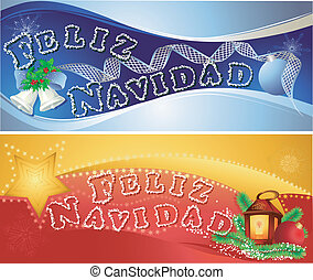 Christmas horizontal banners with Merry Christmas in...