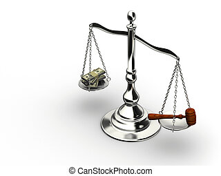 Money or justice - Brass scale with money and justice hammer...