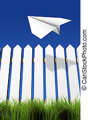 Paper airplane flying over the fence - rendered in 3d