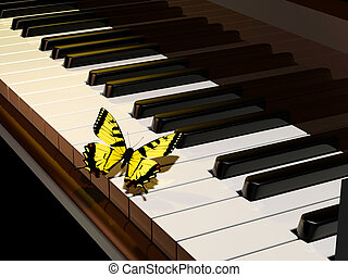 Piano and butterfly - Yellow butterfly on piano keys -...