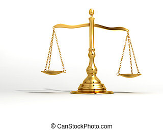 Golden brass scale - A golden brass scale on white...