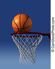 Basketball in air over hoop - rendered in 3d