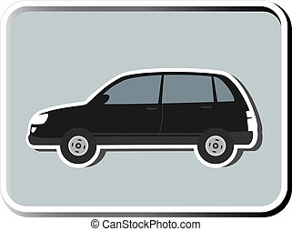 icon with isolated SUV - icon with black isolated SUV...