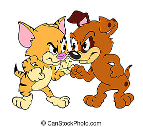 Cat and Dog Fight - Hand drawn cartoon of a kitten and puppy...