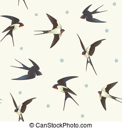 Pattern with swallows - Seamless background with swallows...