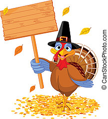 Thanksgiving turkey holding sign - Illustration of a...