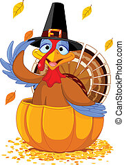 Thanksgiving Turkey in the pumpkin - Illustration of a...