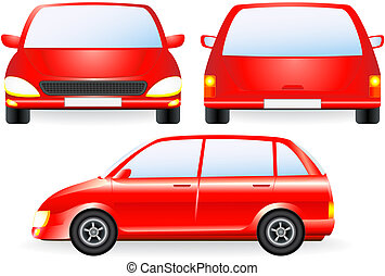 red isolated car silhouette, front and profile icon
