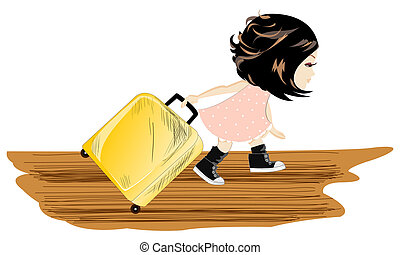 Travel girl with baggage - Vector illustration travel...