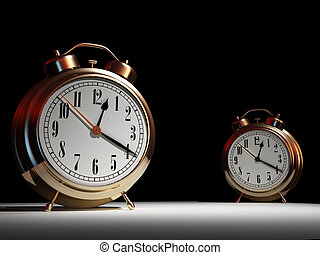Alarm clock - Time passing concept - two alarm clock -...