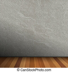 Empty Interior of vintage room with gray stone wall and wood floor. Vector eps10