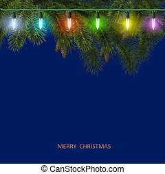 Christmas card with fir tree branch and colorful garland....