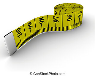 Tape measure - A rolled tape measure on white background -...