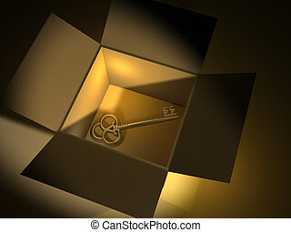 Golden key in box - 3d render