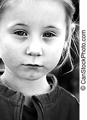 black-and-white photo of the little girl