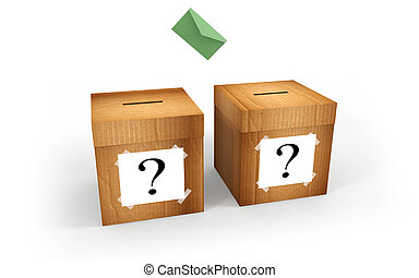 Election - Cardboard boxes for voting with question mark and...
