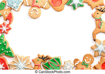 Christmas gingerbread cookies over white