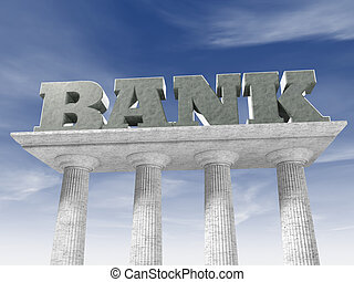 Bank - Written bank supported by marble columns