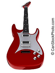 Electric guitar - A red electric guitar isolated on white...
