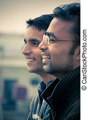 Two indian young happy people