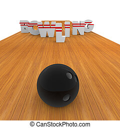 Bowling alley with skittles and ball position in the...
