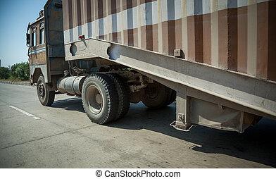 Running truck on road