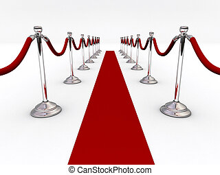 Velvet rope - A red carpet and velvet rope - 3d render