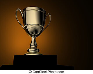 Trophy - A gold champion cup - rendered in 3d