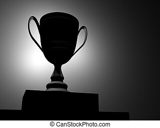 Trophy 2 - Silhouette of champion cup - rendered in 3d