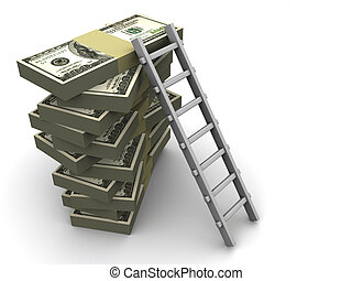 Ladder on money - Stacks of dollars with a ladder - 3d...