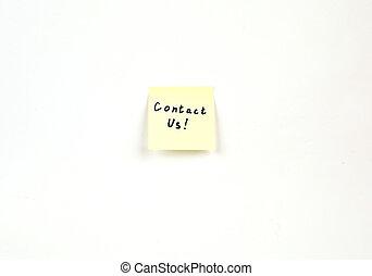 nota, contato,  us!, correspondência-isto