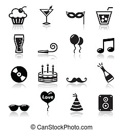 Party icons set - birthday, New Yea - Black icons set -...