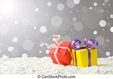 Christmas holiday - Christmas gift boxes on snow against...