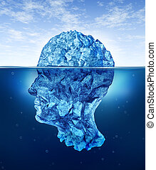Human Brain Risks - Human brain risks with an iceberg in the...