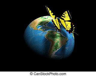 Earth globe and butterfly