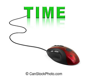 Computer mouse and word Time
