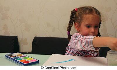 little girl draws paints - timelapse