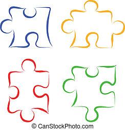 Scribble puzzle pieces