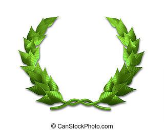 Leaf crest - A green leaf crest on white background - 3d...
