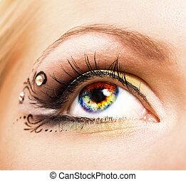 ojo, primer plano, colorido, humano