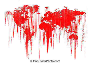 Bleeding Earth - Conceptual world map on white