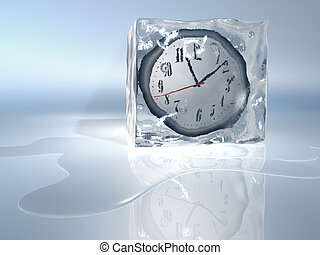 Frozen time - A clock frozen in ice cube - rendered in 3d