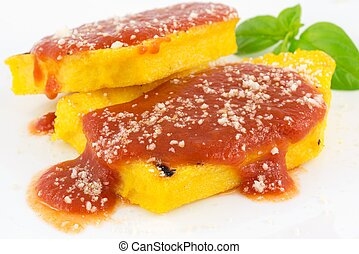 polenta with tomato sauce  - polenta with tomato e parmesan