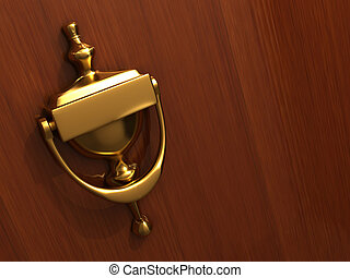 Door knocker - A golden knocker on door - rendered in 3d