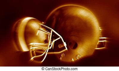 Flying american football helmets