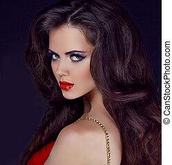retrato, elegante, mujer, rojo, labios, largo, rizado, pelo,...