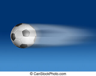 Flying ball - Conceptual flying soccer ball on blue...