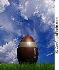 Rugby ball - A rugby ball on grass field - rendered in 3d