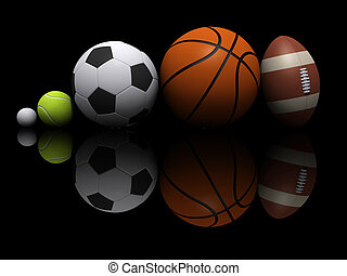 Sports ball - Five different sports ball - 3d render